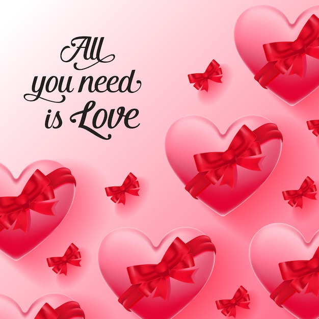 All you need is love lettering with heart-shaped boxes