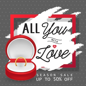 All you need is love lettering with ring