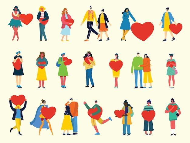 Все, что тебе нужно - это любовь. люди с сердечками как любовные массажи
