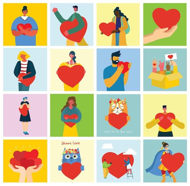 Все, что тебе нужно - это любовь. люди с сердечками любят массаж.