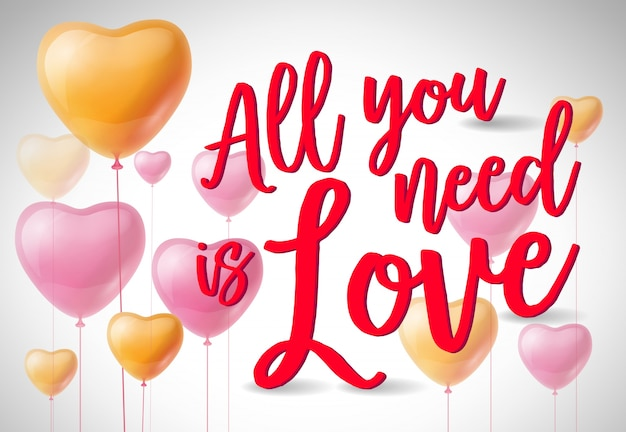 All you need is love poster with balloons