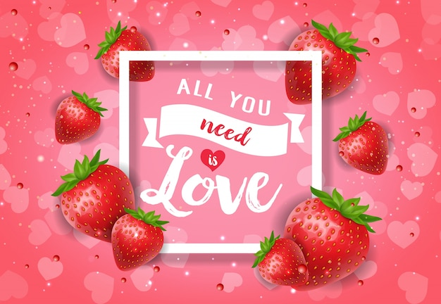 All you need is love poster with berries