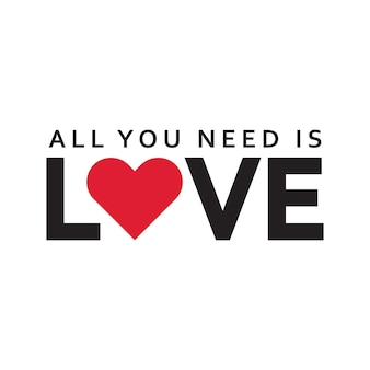 All you need is love in romantic valentine typography word art illustration free vector