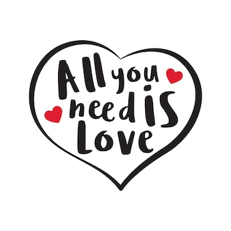 All you need is love typography word art in black outline heart shape illustration free vector
