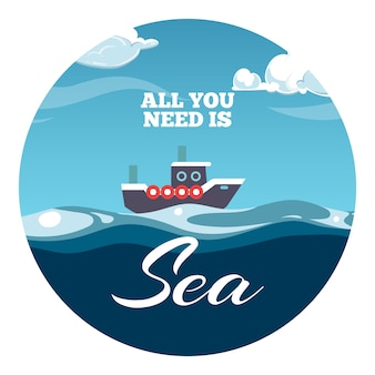 All you need is sea postcard design