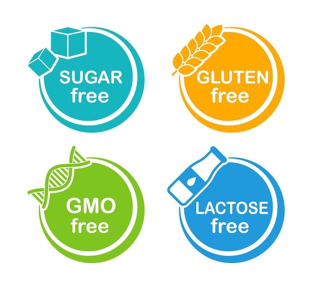 Набор этикеток без аллергенов без сахара без глютена без гмо без лактозы