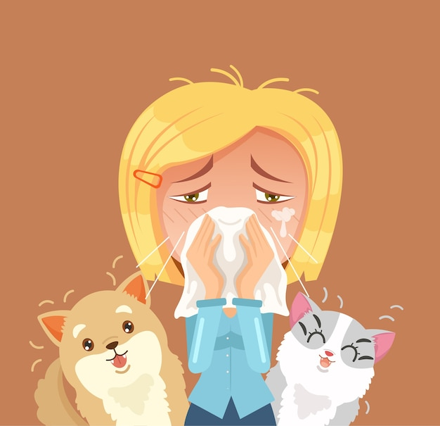 Allergic to domestic animals. woman character sneeze.