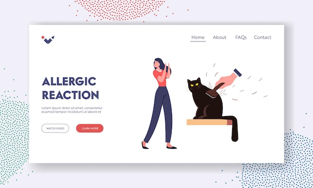 Allergic reaction on animal fur landing page template. female character with cat allergy sneezing of pets hair. woman suffer of cough and asthma symptoms at kitten. cartoon vector illustration