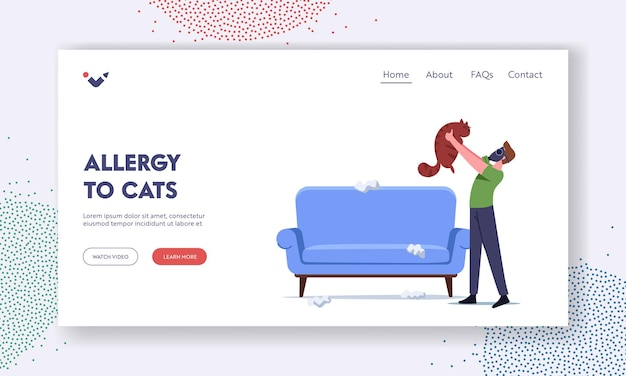 Allergic reaction on animal fur landing page template. male character in respirator mask holding cat protect of allergy sneezing on pet hair. man suffer of asthma symptoms. cartoon vector illustration