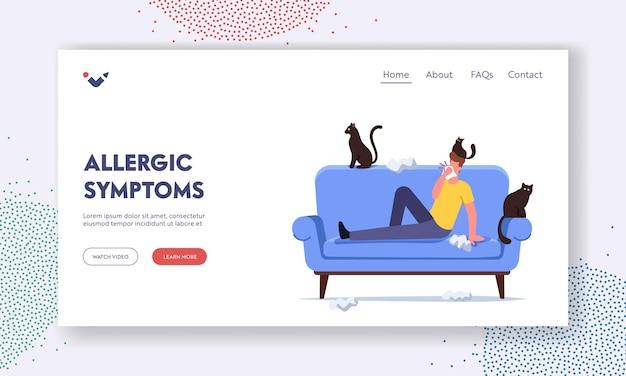 Allergic symptoms landing page template. male character with cat allergy sneezing with scatter wipes around and pets. reaction on animal fur . man suffer of asthma cough. cartoon vector illustration