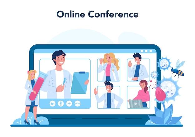 Аллерголог онлайн-сервис или иллюстрация платформы в плоском стиле