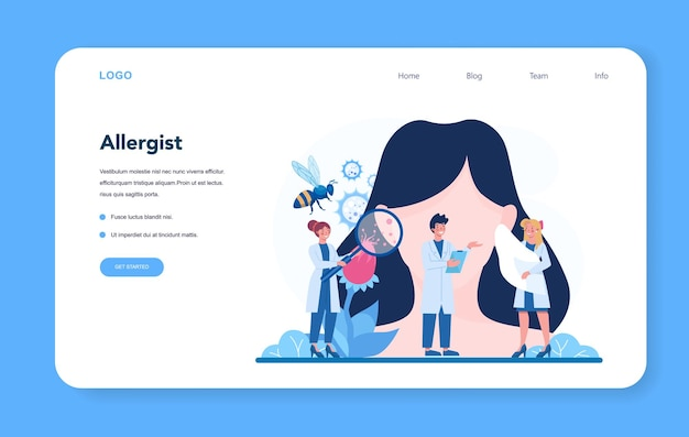 Allergist web banner or landing page. disease with allergy