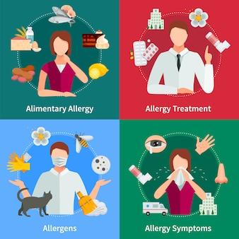アレルギーと治療の概念アレルギーのベクトル図アレルギーセット。アレルギーデザインセット。アレルギーの隔離された要素。