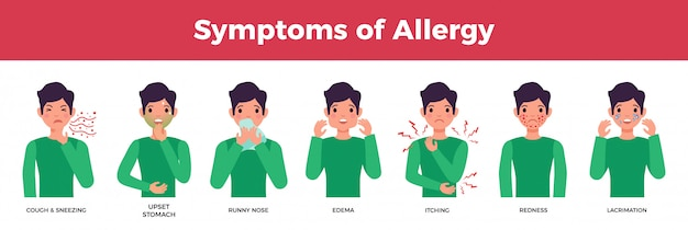 Allergy avatar or characters set with allergy symptoms, flat isolated vector illustration