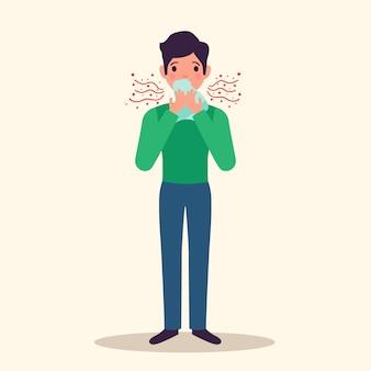 Carattere di allergia che starnutisce concetto con i sintomi, illustrazione piana di vettore
