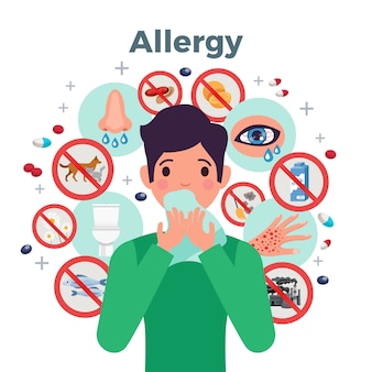 Concetto di allergia con fattori di rischio e sintomi, illustrazione vettoriale piatta