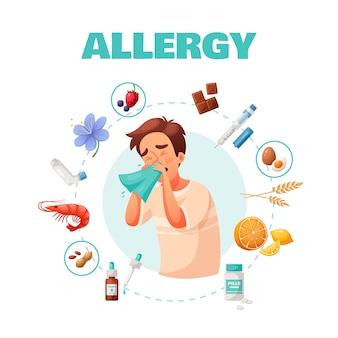 Concetto di allergia con trattamento dei sintomi e fumetto di simboli di allergeni comuni
