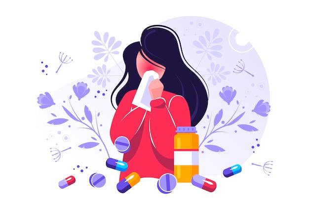 Иллюстрация аллергии. крошечная пыль, астматическая непереносимость