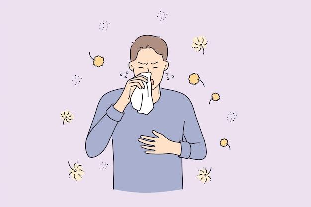 Allergy reaction medicine and healthcare concept