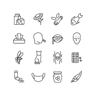 Allergy and rhinitis symptoms line icons. allergic and allergen outline vector medicine symbols isolated
