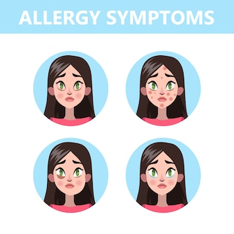 Allergy symptoms infographic. runny nose and eye redness