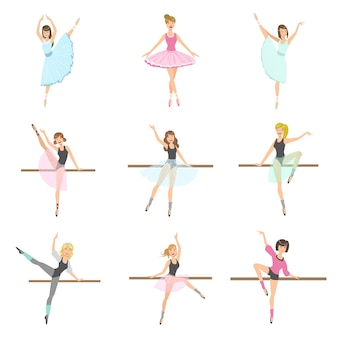 さまざまなポーズのリハーサルセットのalletダンサー
