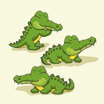 Alligator cartoon cute crocodile animals set