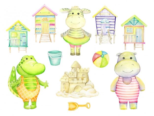 Аллигатор, бегемот, зебра, пляжные домики, замок из песка. акварель набор, на изолированном фоне. набор отдельных элементов, на тему лета.