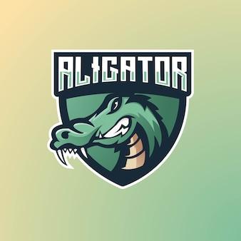 Дизайн логотипа талисмана аллигатора для игр, киберспорта, youtube, стримера и твича