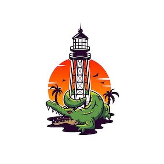 Аллигатор риф маяк башня иллюстрация вектор