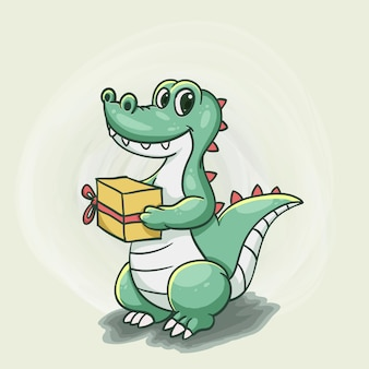 Alligator surprise with gift cute cartoon style