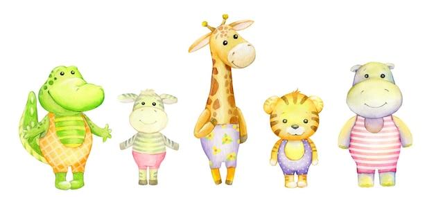 Аллигатор, зебра, жираф, тигр, бегемот. милый тропический, на изолированном фоне. набор акварели