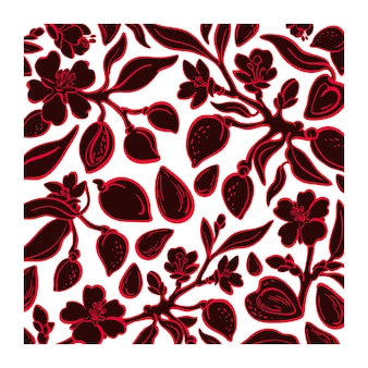 Almond floral pattern. organic nuts, plant. graphic illustration