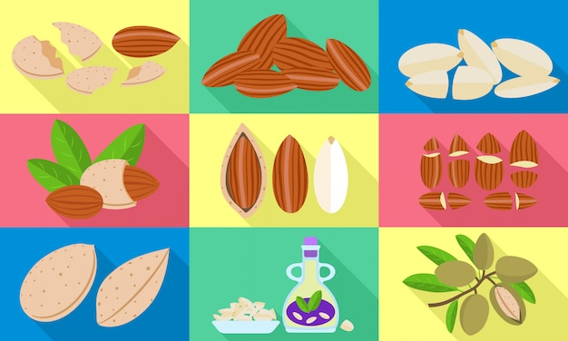 Almond icons set. flat set of almond vector