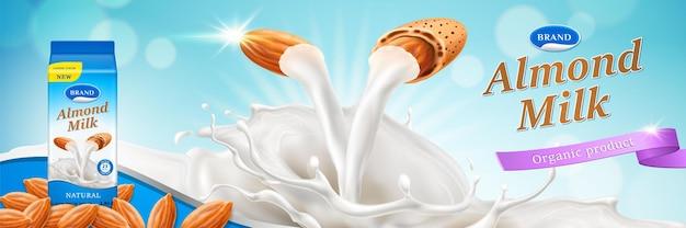 Миндальное молоко рекламирует половинки миндаля с потоком жидкого напитка и брызгами, изолированными на синем боке