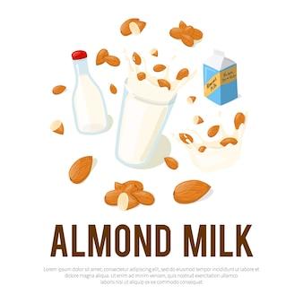 Миндальное молоко рекламный флаер с местом для вашего текста. здоровое питание мультфильм иллюстрации на белом фоне