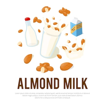 Almond milk advertisement flyer with place for your text. healthy eating cartoon illustration isolated on white background
