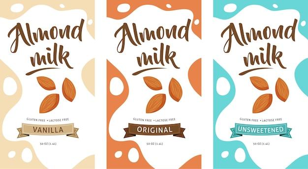 Пакет иллюстрации миндального молока