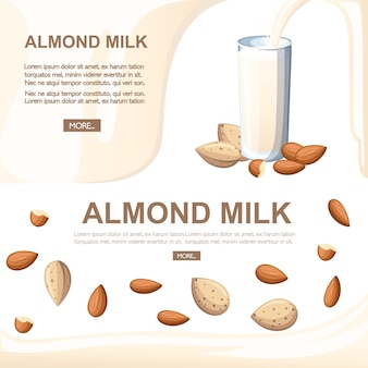 Almond milk pouring in drinking glass