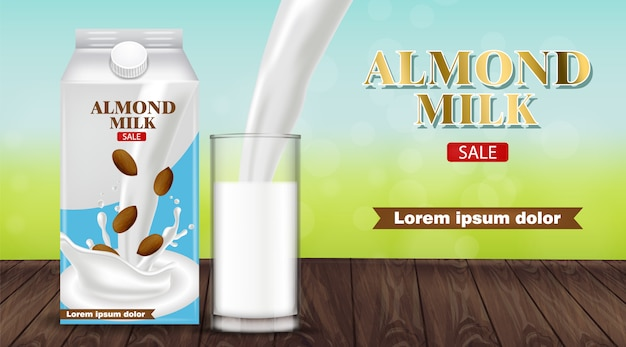 Almond milk pouring in a glass