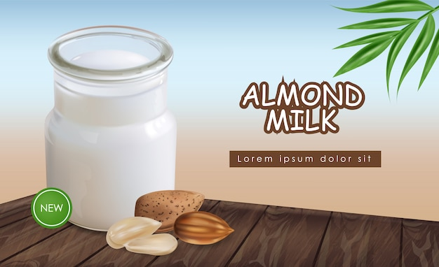 Almond milk realistic mock up. glass bottle delicious organic drink on wooden table. detailed 3d package illustrations