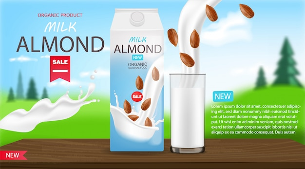 Almond milk realistic, organic milk, new product, fresh milk, box package