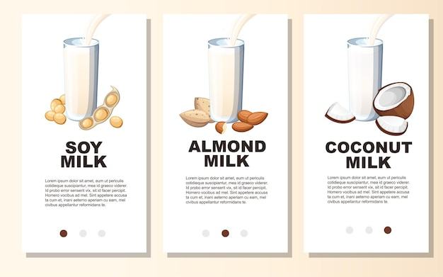 Almond milk, soy milk, coconut milk, pouring in drinking glass.vertical banners set