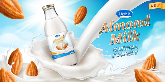 Almond milk with glassware bottle and creamy 3d splash, realistic nuts. package for vegan dairy drink or protein beverage, branding for healthy milky nutrition.