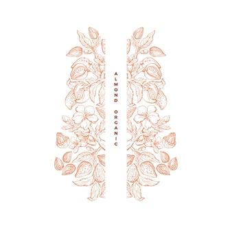 아몬드 너트 프레임 아트 손으로 그린 식물 나무 견과류 잎 꽃