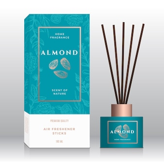 Almond nuts home fragrance sticks abstract  label box template. hand drawn sketch flowers, leaves background. retro typography. room perfume packaging design layout. realistic mockup.