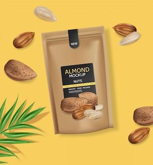 アーモンドナッツの現実的なモックアップ。生ビーガンおいしいスナック。 3d詳細設計製品パッケージ