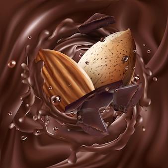 液体チョコレートのチョコレート片とアーモンド。