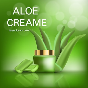 Aloe cream concept background. realistic illustration of aloe cream vector concept background for web design