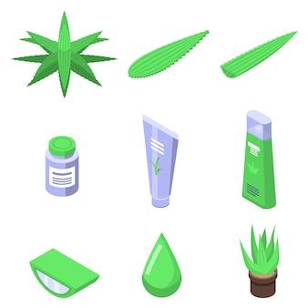 Aloe icons set, isometric style